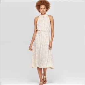 NWOT Prologue sleeveless halter neck midi dress